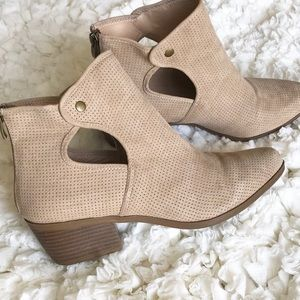 Beige Perforated Ankle Booties with Cutout Detail!